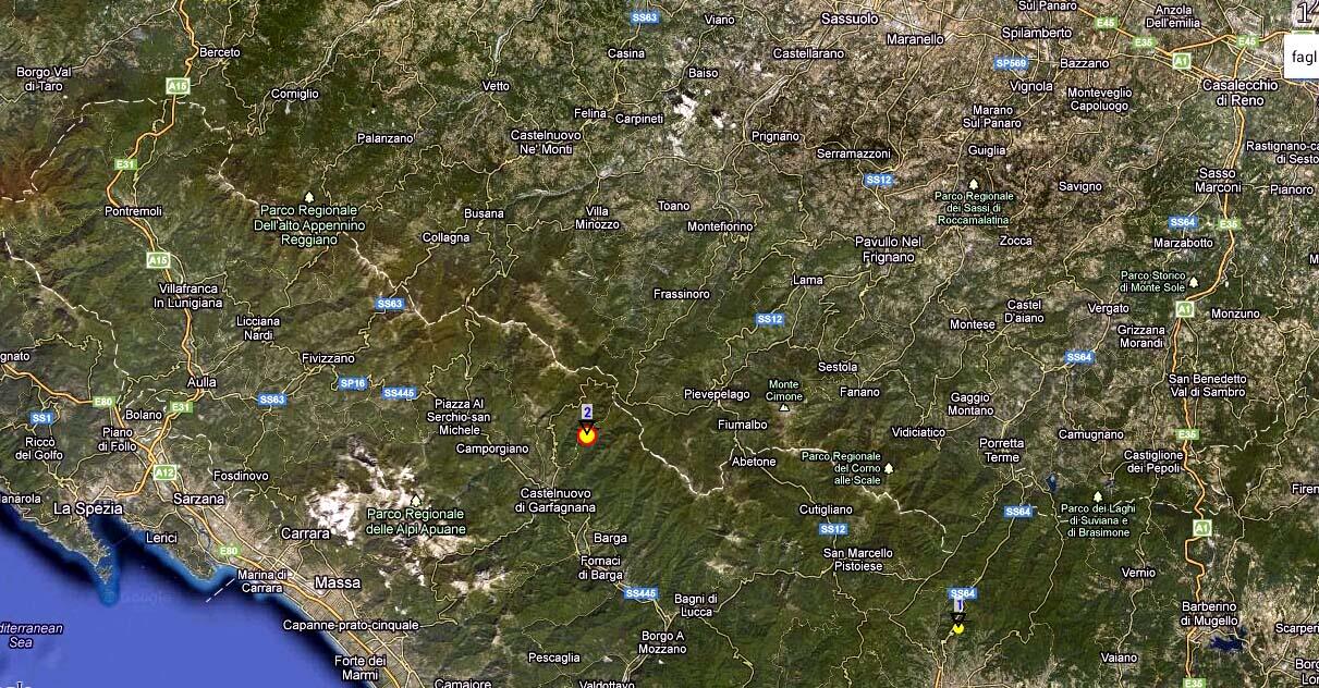 Con il pallino è evidenziato l'epicentro della prima scossa a Pieve Fosciana (Lucca)