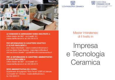 Presentato il Master di 2° Livello 'Impresa e Tecnologia Ceramica'